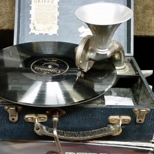 GRIPPA PORTABLE PERAPHONE MADE IN LONDON. $420 SOLD WITH RECORDS